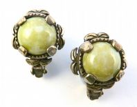 Vintage Scottish Style Faux Connemara Marble Clip On Earrings By Miracle.